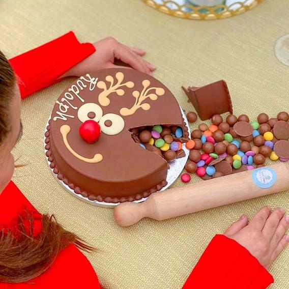Reindeer Chocolate Smash Cake