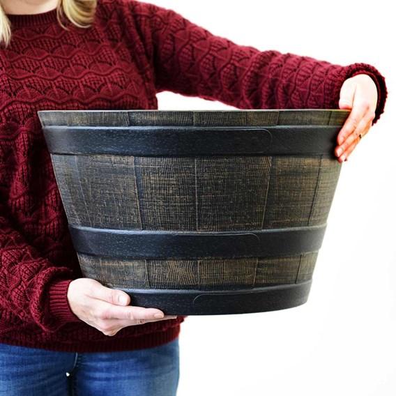 Medium Wooden Barrel Effect Plastic Planter (Box of 10)
