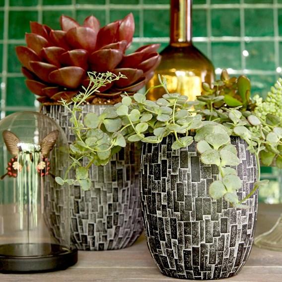 Vase elegant high Stone 18x21 black