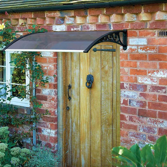 1.2M Door Canopy - Black Grey Cover