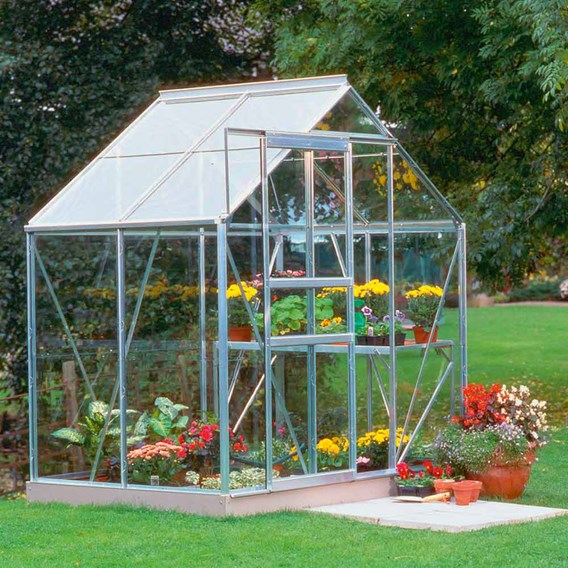 Aluminium Popular 6' x 4' Greenhouse with Horti Glass + Base and Accessories