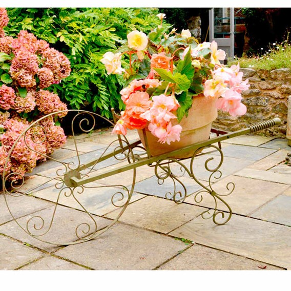 Whimsical Wheelbarrow Plant Stand