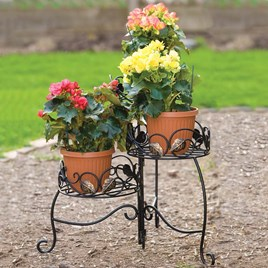 Scroll & Ivy Folding 3 Tiered Plant Stand