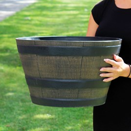 Medium Wooden Barrel Effect Planter