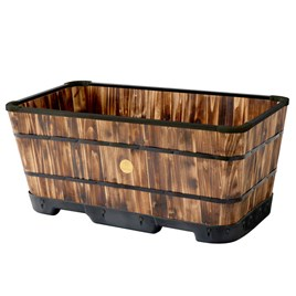 Tapered Medium Trough Planter - Burnt Oak