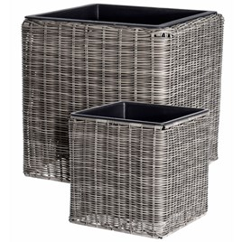 Set of Two Poly Rattan Square Plant Pots