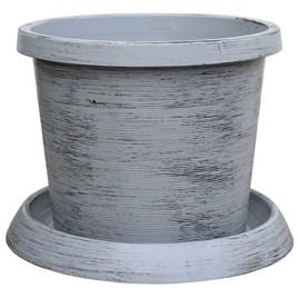 Modern Grey Pot & Saucer